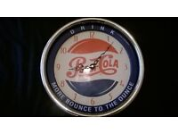 pepsi cola wall clock works fine with 1 battery installed , new looking, no scratches either.