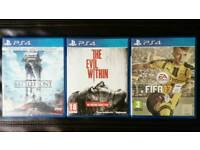 PS4 FIFA17, The Evil Within, Star Wars Battlefront Video Games PlayStation 4
