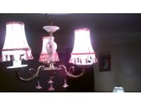 Porcelain Ceiling Chandelier with pink shades also selling same with cream shades