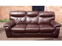 Chocolate brown leather sofa, 3 seat, as new, can deliver