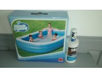 Family PADDLING POOL. Brand new in Box! 120 x 72 x 22 inches. Plus Chloride Granules & Test Strips.