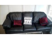 Black Leather 3 seater sofa and arm chair