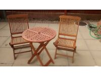 OUTDOOR HARDWOOD TABLE & 2 CHAIRS (ALL FOLDING)