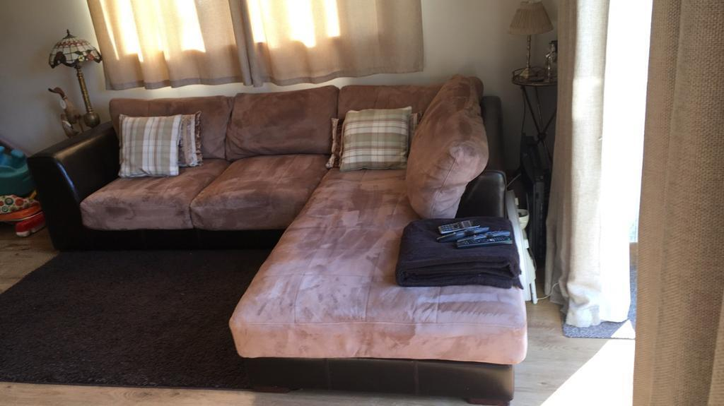 Suede/leather corner sofa for sale