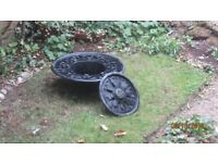 Plastic water feature with fountain, used