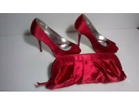 Barratts Red Satin Peep Toe High Heel Shoe's Size UK5 with Matching Clutch Bag