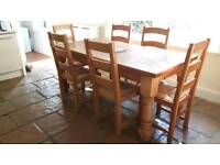 Real solid pitch pine wood kitchen table and chairs