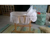 Moses basket with rocking wooden stand, bedding, mattress, fitted sheets