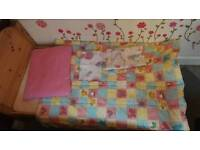 Children's bed 140x70 with mattress and bedding set