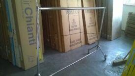 Metal steel portable clothes rack hanger wardrobe on wheels bar garment holder