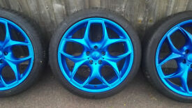 "Bmw Vivaro Traffic VW T5 Alloy Wheels 20"" With Tyres Blue Style 215"