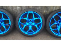 "Bmw Vivaro Traffic VW T5 Alloy Wheels 20"" With Tyres Blue Style 215"