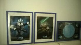 2 STAR WARS EPISODE 3 FRAMED POSTERS + STAR CHART FRAMED POSTER