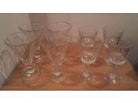4 Drinking Glasses, 4 Glass Desert Pudding Dishes (Glassware)