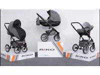 Riko Brano pram pushchair black and grey