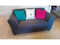 Sofa, two seater, dark grey fabric