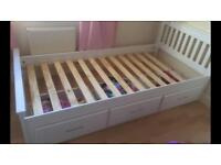 Beautiful White Pine Single Bed with Storage