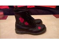 ladies Doc Martin Ankle Boots size 6 As New with Red Rose detail