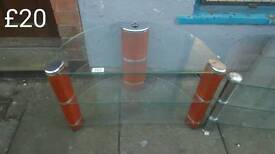 Clear glass TV stand 1 half price free delivery in leicester