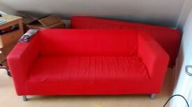 Very comfortable red IKEA sofa! Sits 3 people. Amazing price