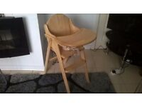 LOVELY WOODEN HIGH CHAIR WITH 5 POINT HARNESS