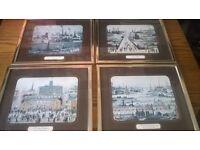 x4 Lowry Prints Canal / Canal Bridge / VE Day Celebrations / Industrial Landscape 1950