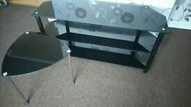 Black glass TV unit and small end table