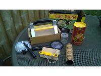 Unused sturdy leaf press, animal track casting kit and National Geographic Bug Barn set