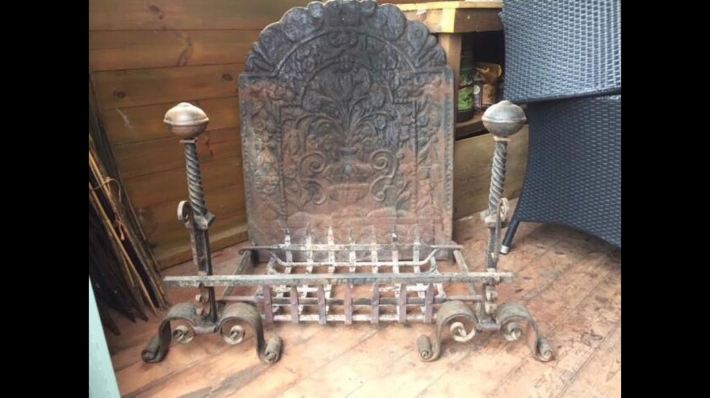 Cast Iron Fireplace & Tool Set