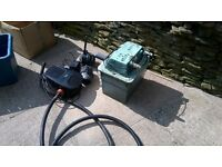 three pond pumps and one uv filter box