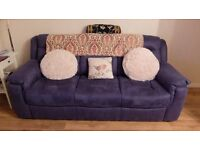 3 Seater Sofa with Single Eletric Recliner Chair