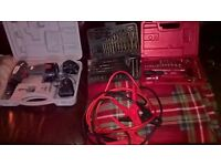 D.I.Y. and car mechanic accessories..drill..jump leads..socket set..drill set..