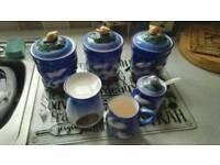 Tea coffee sugar jars ect