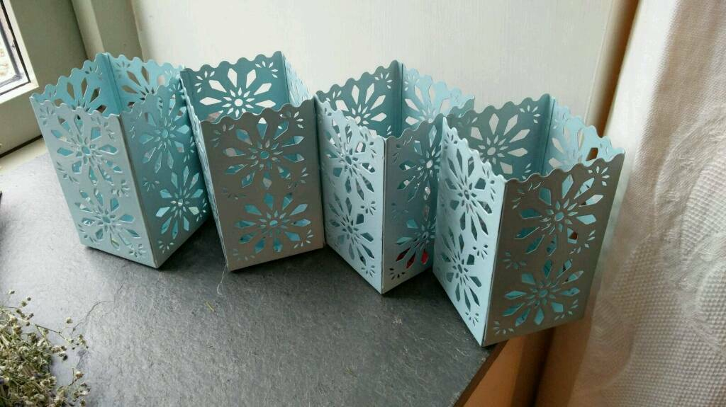 5 mint/light blue metal candle holders