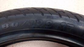 New and unused 80-100/17 motorbike tyre