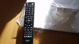 Toshiba - Remote control + white TV stand for the (Toshiba 24D1434)