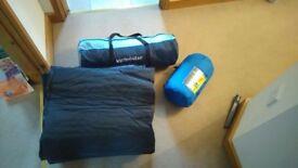 4 man tent sleeping bag and camping mats