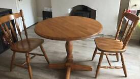 Solid wood round table, 2 chairs. Would be great to Shabby chic!
