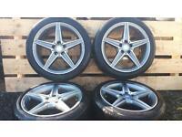 "Set of 18"" genuine Mercedes c class alloys & tyres VW AUDI SEAT"