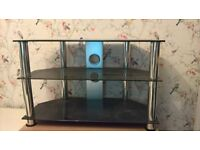 TV unit/stand - black glass and silver