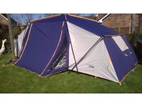 4/5 man tent, two bed rooms and great sized living area with plenty of height, good for all weathers