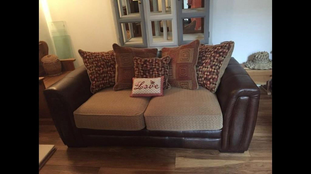 Leather two Seater Sofa Bed And Three Seater Sofa With Matching Pouffe set Barker & Stonehouse