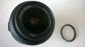 nikon dx vr af-s niikkor 18-55 mm camera lens + uv filter