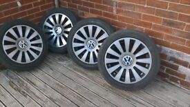 VW 18 INCH 12 SPOKE ALLOY WHEELS WITH CONTINENTAL TYRES