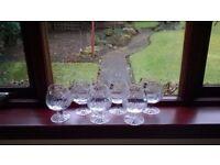 6 Gleneagles crystal brandy glasses