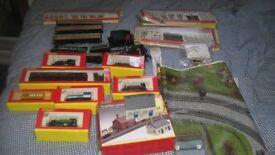 Hornby train set 00 gauge. Tracks, engines, track mat, power pack +