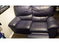 Leather independent Reclining 2 seater sofa, Navy/Dark Blue - 180cm wide x 88cm deep x 96cm high