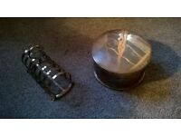 Silver plated toast rack and round lidded box