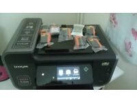 WI FI Lexmark Prestige Pro 805, Printer, Scanner, Copier with 8 new cartridges.