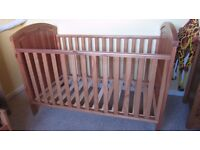 Pine Cot bed and chest drawers with change mat - Mothercare- very good condition